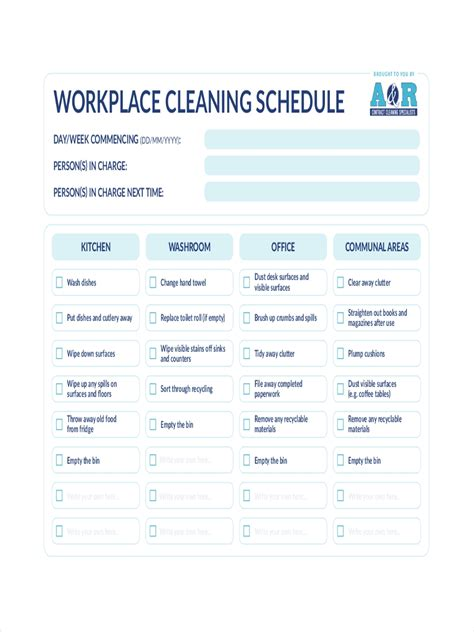 cleaning schedule examples   ms word pages