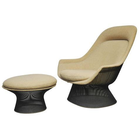 warren platner bronze lounge chair with ottoman for knoll