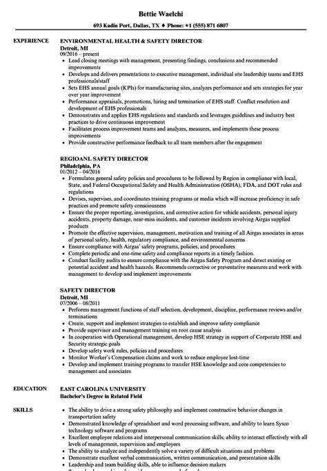 Safety Manager Resume by Safety Director Resume Sles Velvet