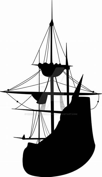 Ship Silhouette Pirate Clipart Mayflower Transparent Clip