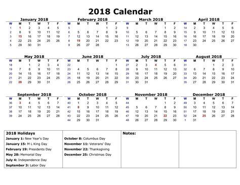 2018 Printable Calendar Year Free