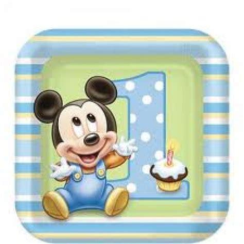 assiette dessert anniversaire gar 231 on mickey 1 an pas cher