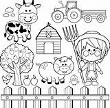 Farmer Farm Coloring Animals Boy Vector Clip Drawing Child Fence Clipart Cow Illustrations Tractor Drawings Equipment Agricultural sketch template