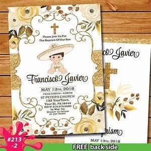 Size Of A7 Envelope Mexican Baptism Fiesta Gold Invitation Oro Charro Bautizo