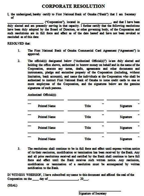 Corporate Resolution Form Template Mous Syusa