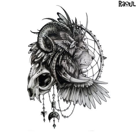 tatouage ephemere dun lion avec coiffe raoul chnock