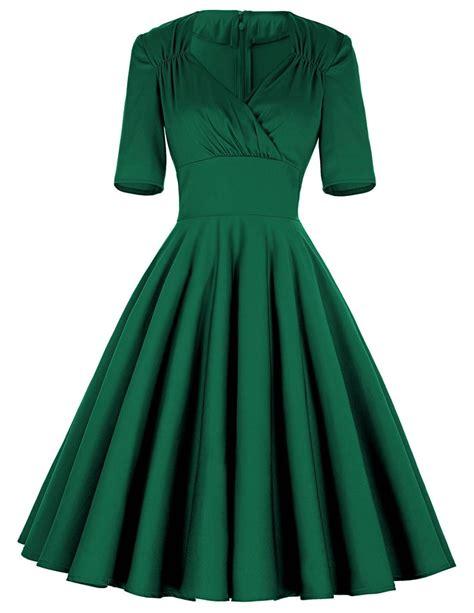 green  sleeve full swing skirt  dress