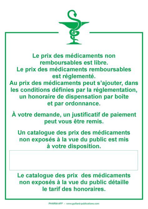 affichette prix pharmacie registre pharmacie registres obligatoires maprevention