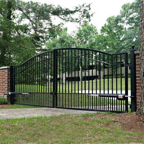 automatic outdoor lights mighty mule cascade 14 dual steel driveway gate ebay