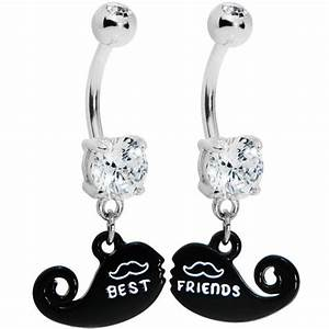 Best Friend Mustache Belly Ring Set | Fun and Entertaining ...