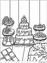 Coloring Desserts Table Pages Zentangle Printable Adults Cake Supercoloring Drawing sketch template