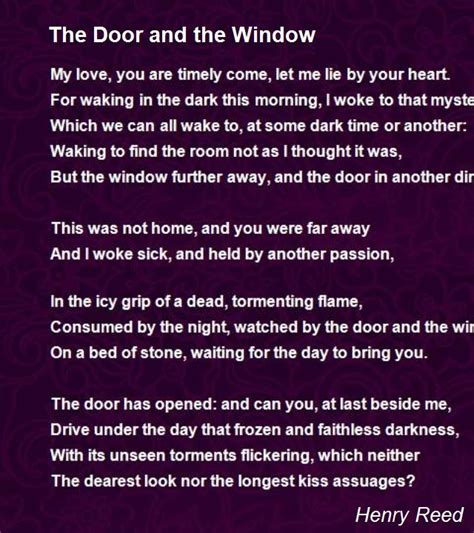 door   window poem  henry reed poem hunter