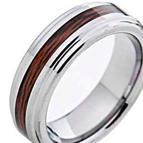 mm wood inlay tungsten mens wedding ring sz