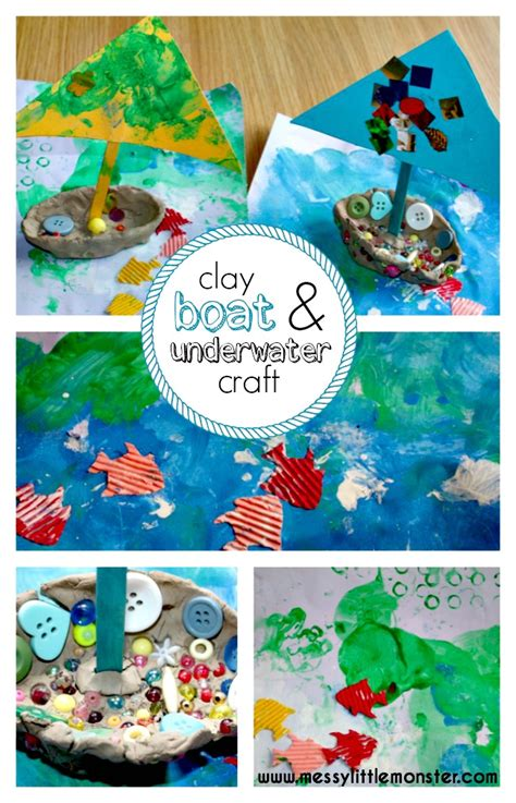 clay boat underwater craft messy  monster