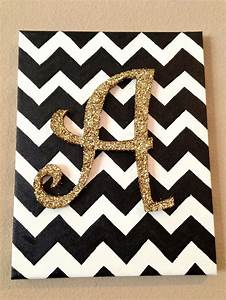chevron background with a wooden glitter letter on top ...