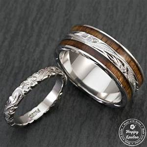 pair of hand engraved platinum and sterling silver wedding With hawaiian mens wedding rings