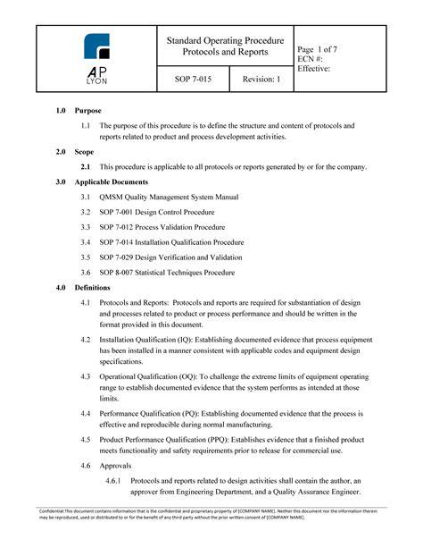 Validation Protocols - Reports Procedure