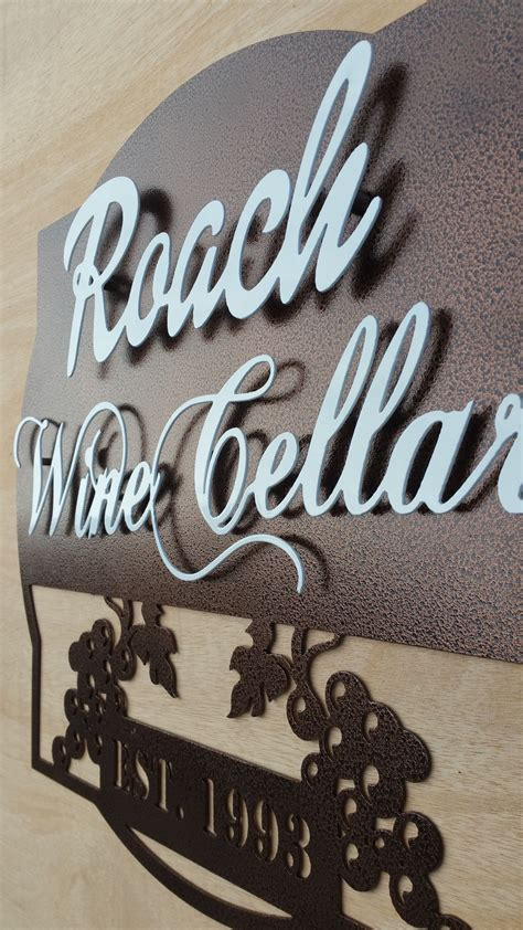 personalized wine cellar  established year metal sign kitchen bar signs