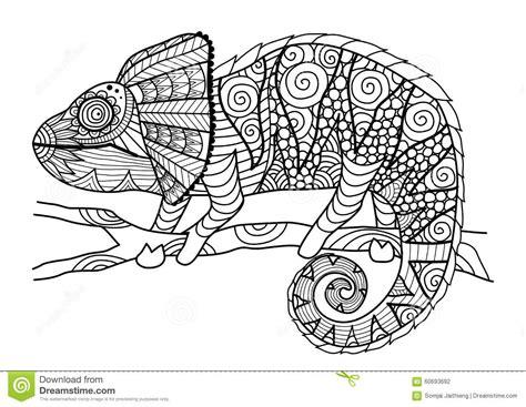 Stile Disegnato A Mano Dello Zentangle Del Camaleonte Per