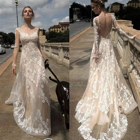 sleeve lace open back wedding dress 2016 lace backless illusion wedding dresses a