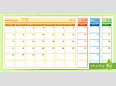 Academic Year Monthly Calendar Planning Template 20172018