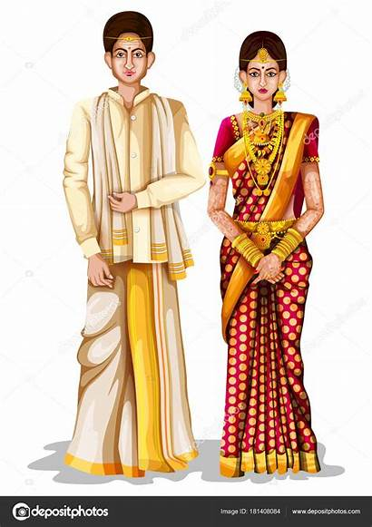Traditional Couple Illustration Pradesh Andhra Cartoon Indian