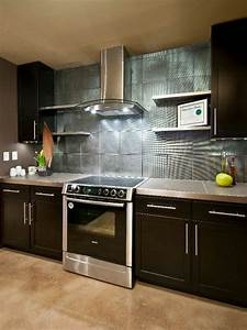 Do it yourself diy kitchen backsplash ideas hgtv for Kitchen colors with white cabinets with large metal wall art panels