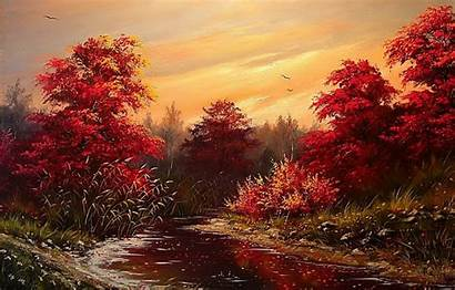River Trees Sunset Landscape Autumn Painting Birds