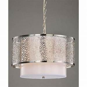 modern white nickel drum shade ceiling chandelier pendant With white lamp shade for modern room