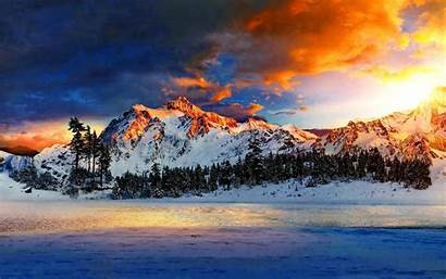 Sky Colors Different Wallpapers Sunrise Snowy Mountains
