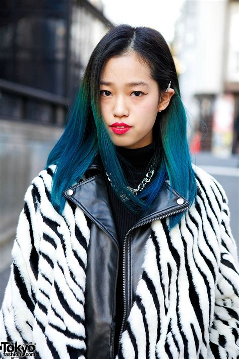 Blue Ombre Hair Zebra Print Jacket Clutch And Ripped Jeans