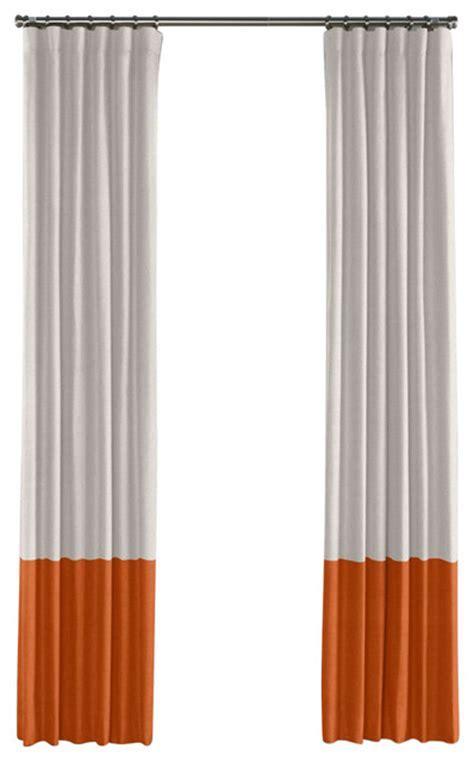 Pale Gray and Burnt Orange Linen Color Block Curtain