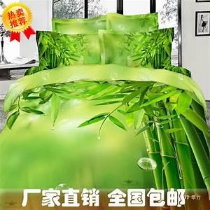 bambou impression vert ensemble de literie reine roi With housse de couette bambou
