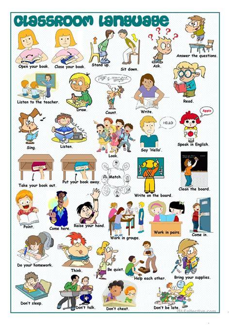 classroom language picture dictionary worksheet  esl printable worksheets   teachers
