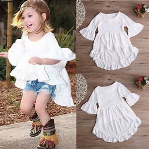 U3010White Ruffled Cotton Outfits Top Dress Dress Blouse 1pcs Kids ( ^ ^)u3063 Children Children Baby ...