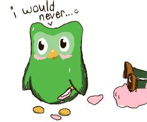 wholesome duolingo owl drawception