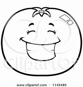 Cartoon Clipart Of A Black And White Angry Tomato ...
