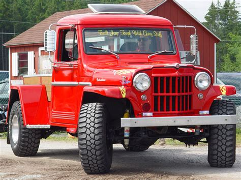 custom jeep red jeep custom pickup red front angle