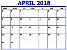 April 2018 Calendar Excel Printable