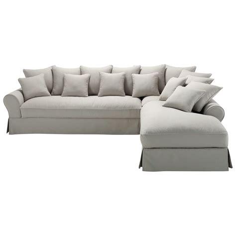 canap angle gris clair canapé d 39 angle droit 6 places en coton gris clair bastide