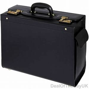 Black Leather Pilot Case Large Briefcase Flight Bag Cabin ...