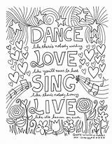 Dance Coloring Pages Word Sing Square Poster Quotes sketch template