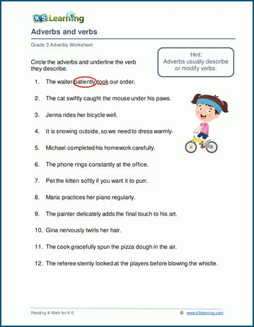 free adverbs worksheets for grade 3 grade 3 adverbs worksheets k5 learning