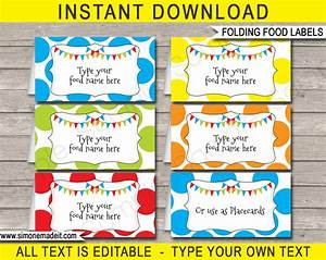 polkadot food labels place cards colorful or rainbow With colorful labels templates