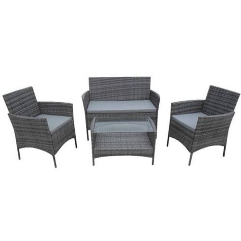This luxury rattan furniture set designed with ease in mind, with double chair square sided design with two footstools. ALEKO Lipari Set Rattan Wicker Furniture 4-Piece Indoor Outdoor Coffee Table Set, Black ...