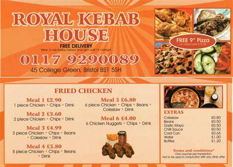 Royal House Menu by Royal Kebab House Kebab Takeaway On College Green Bristol