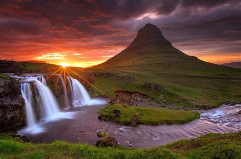 Iceland Kirkjufell Mountain Volcano Rock Waterfall Night