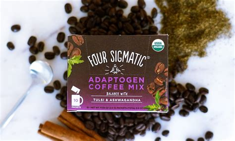 Best selling in ground coffee. Four Sigmatic Adaptogen Coffee Mix with Tulsi & Ashwagandha) - Front of Package - I Am A Clean Eater