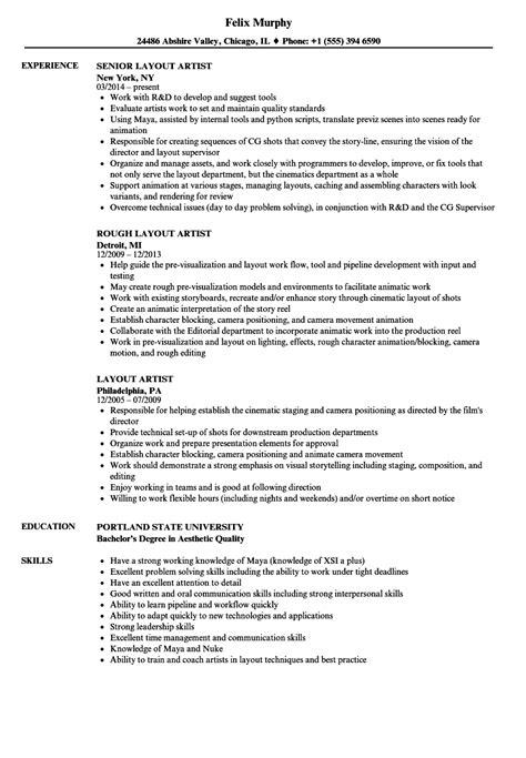 Artist Resume by Layout Artist Resume Sles Velvet