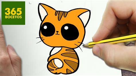 como dibujar gato kawaii paso a paso dibujos kawaii